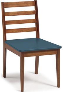Cadeira De Jantar Imperial Cacau E Azul Marinho