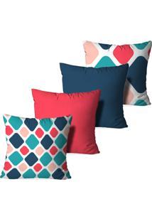 Kit 4 Capas Para Almofadas Decorativas Love Decor Geométrico Multicolorido Azul