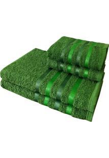 Jogo 4 Toalhas 2 Banho 2 Rosto - Onix Verde - Kanui