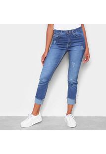 Calça Jeans Slim Calvin Klein High Rise Destroyed Feminina - Feminino