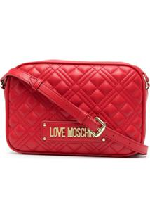 Love Moschino Quilted Logo Crossbody Bag - Vermelho