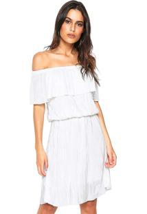 Vestido Facinelli By Mooncity Curto Plissado Branco