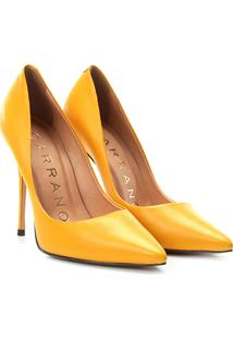 Scarpin Couro Carrano Salto Alto Clássico - Feminino-Amarelo