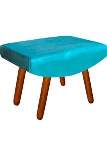 Puff Decorativo Josy Pés Palito Suede Azul Tiffany - D'Rossi