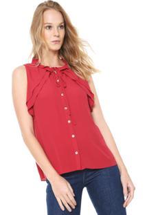Camisa Maria Filó Babado Vermelha