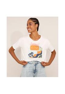 """Camiseta Feminina Manga Curta Cropped Oversized """"Sunset Paradise"""" Decote Redondo Off White"""