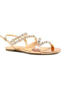 Sandalia Zariff Shoes Rasteira Metalizada - Feminino-Dourado