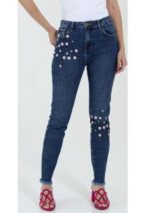 759303914 Ir para a loja  Calça Feminina Jeans Skinny Estampa Floral Marisa