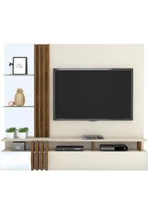 Painel Home Suspenso Para Tv Até 55 Pol. Com Espelho Loris Creme/Tronc