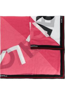 Karl Lagerfeld Echarpe 'K/Sporty ' Com Logo - Preto