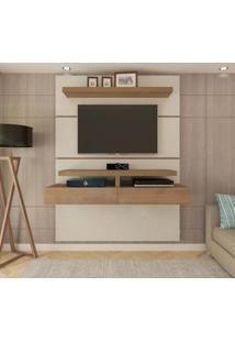 Painel Para Tv 55 Polegadas Oxford Marrom Off White 160 Cm