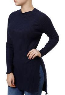 Blusa De Tricot Feminina Endless Azul Marinho