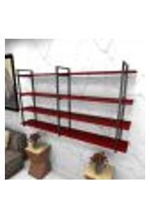 Estante Estilo Industrial Sala Aço Cor Preto 180X30X98Cm Cxlxa Cor Mdf Vermelho Modelo Ind56Vrsl