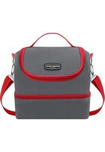 Bolsa Térmica Tamanho G - Cinza Escuro & Vermelha - Jacki Design