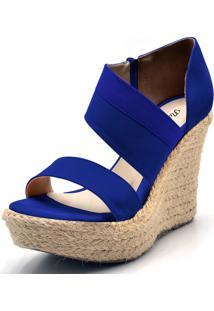 Sandália Flor Da Pele Anabela Tiras Azul