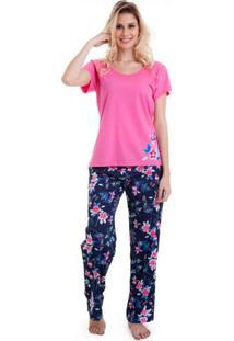 Pijama Longo Manga Curta Floral Feminino Em Algodão Luna Cuore