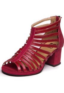 Sandalia Vermelha Gladiadora - Amora / Marsala 5861