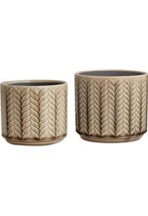 Kit Cachepot 2Pçs Cerâmica Textura Bege Mart Collection