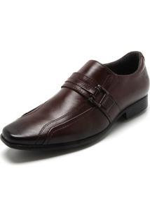 Sapato Social Couro Pegada Recortes Marrom