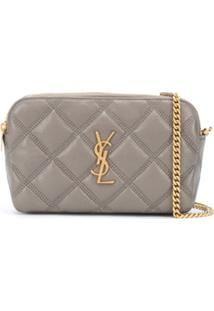 Saint Laurent Clutch Becky Com Zíper Duplo - Neutro