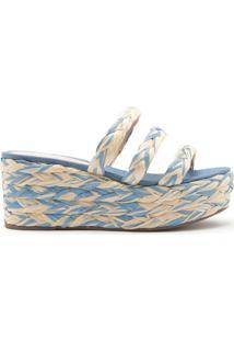 Sandália Flatform Corda Tricô Multicolor Azul | Schutz