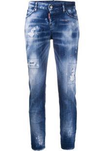Dsquared2 Calça Jeans Cropped Com Efeito Destroyed - Azul