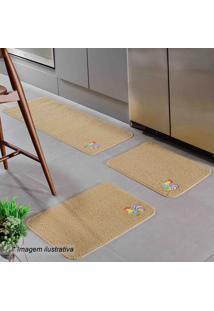 Jogo De Tapetes Para Cozinha Patch- Marrom Claro- 3Poasis