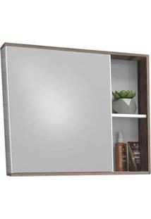 Espelheira Para Banheiro 60Cm Mdf Caeté Branco E Tamarindo 60X52,4X13,2Cm - Cozimax - Cozimax