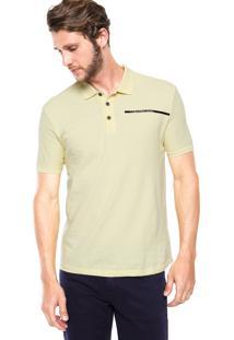 Camisa Polo Calvin Klein Jeans Logo Listra Lateral Amarela