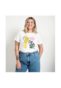 Camiseta Com Estampa E Bordado Curve E Plus Size Branco