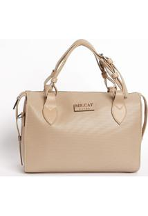 Bolsa Texturizada Com Tag Da Marca- Bege Claro- 23X2Mr. Cat
