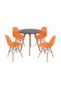 Mesa Inês 80Cm Preta + 4 Cadeiras Eames Eiffel - Laranja