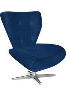 Poltrona Decorativa Tathy Suede Azul Marinho Com Base Estrela Aço Cromado - D'Rossi