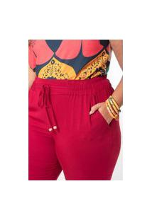 Calça Lisa Twill Rayon Plus Size Bordô