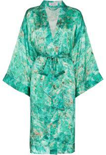 Märta Larsson Vestido De Seda Estampado - Verde