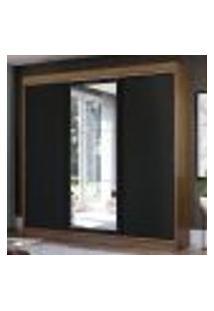 Guarda-Roupa Casal Madesa Istambul 3 Portas De Correr Com Espelho 3 Gavetas - Rustic/Preto