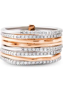 Anel Ouro Rosã© Ouro Branco E Diamantes