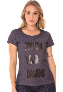 Blusa Use Jeans Express T-Shirt Ângela Amaciada - Feminino-Azul