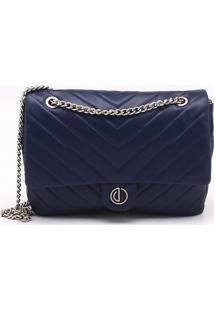 Bolsa Shoulder Bag Couro Matelassê Azul Eclipse