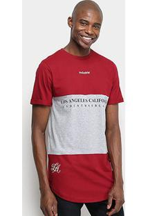 Camiseta Industrie Bicolor Alongada Masculina - Masculino-Bordô
