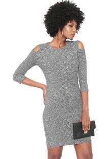 Vestido Facinelli By Mooncity Curto Off Shoulder Preto/Branco