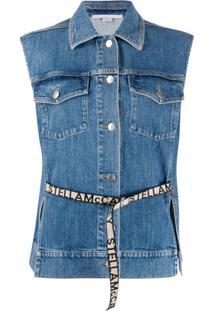 Stella Mccartney Colete Jeans Com Logo E Cinto - Azul