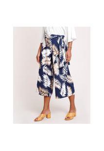 Calça Feminina Pantacourt Estampada De Folhagem Com Faixa Para Amarrar Azul Marinho