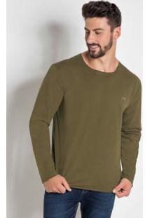 Camiseta Manga Longa Marrom Esverdeado