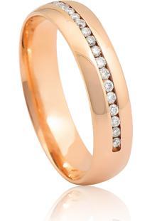 Aliança De Ouro Rosê Anatômica Abaulada Polida Com Diamantes (4,80Mm)