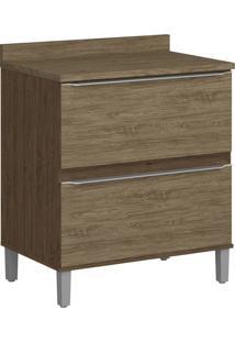 Balcão 2 Gavetas Com Pé 4032P Cedro/Wood - Decibal Móveis