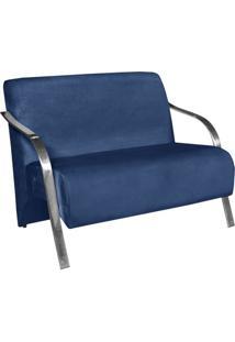 Poltrona Namoradeira Vênus Suede Braço Aluminio -Azul Bic