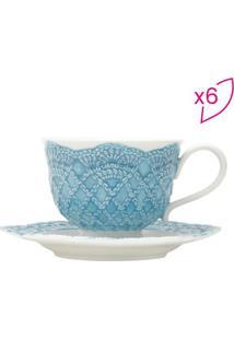 Jogo De Xícaras Para Chá Givemy- Branca & Azul Clarorojemac