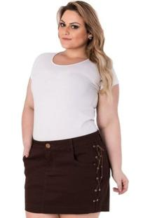 Mini Saia Confidencial Extra Plus Size Em Sarja Com Trançado Feminina - Feminino-Marrom Escuro
