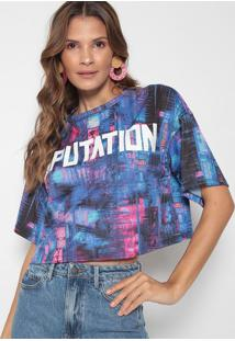 """Blusa Cropped """"Reputation"""" - Azul & Pink - My Favorimy Favorite Things"""